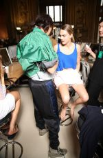 CARA DELEVINGNE in the Backstage at Stella Mccartney Fashion Show