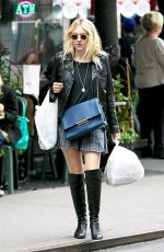 DAKOTA FANNING in Knee Boots Out in New York