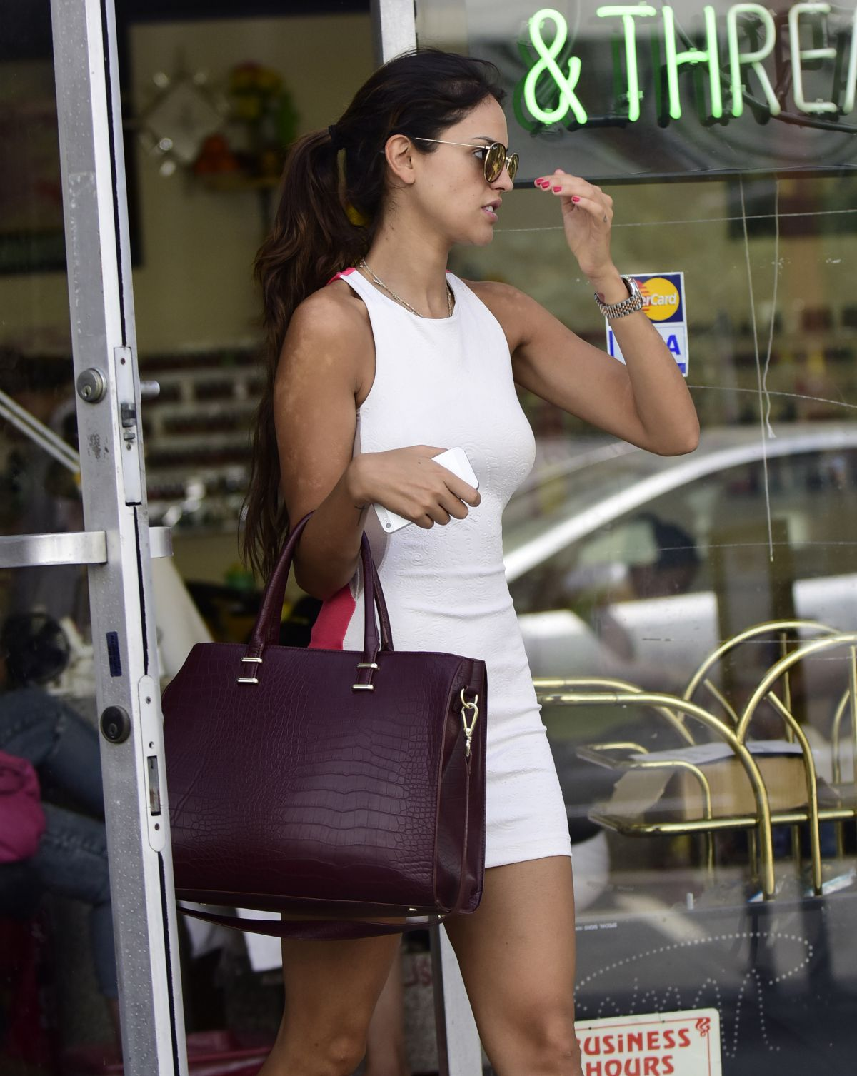 EIZA GONZALEZ Leaves Her Nail Salon in Los Angeles