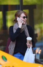 EMMA STONE in Jeans Out and About in New York