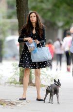 FAMKE JANSSEN Walks Her Dog in New York