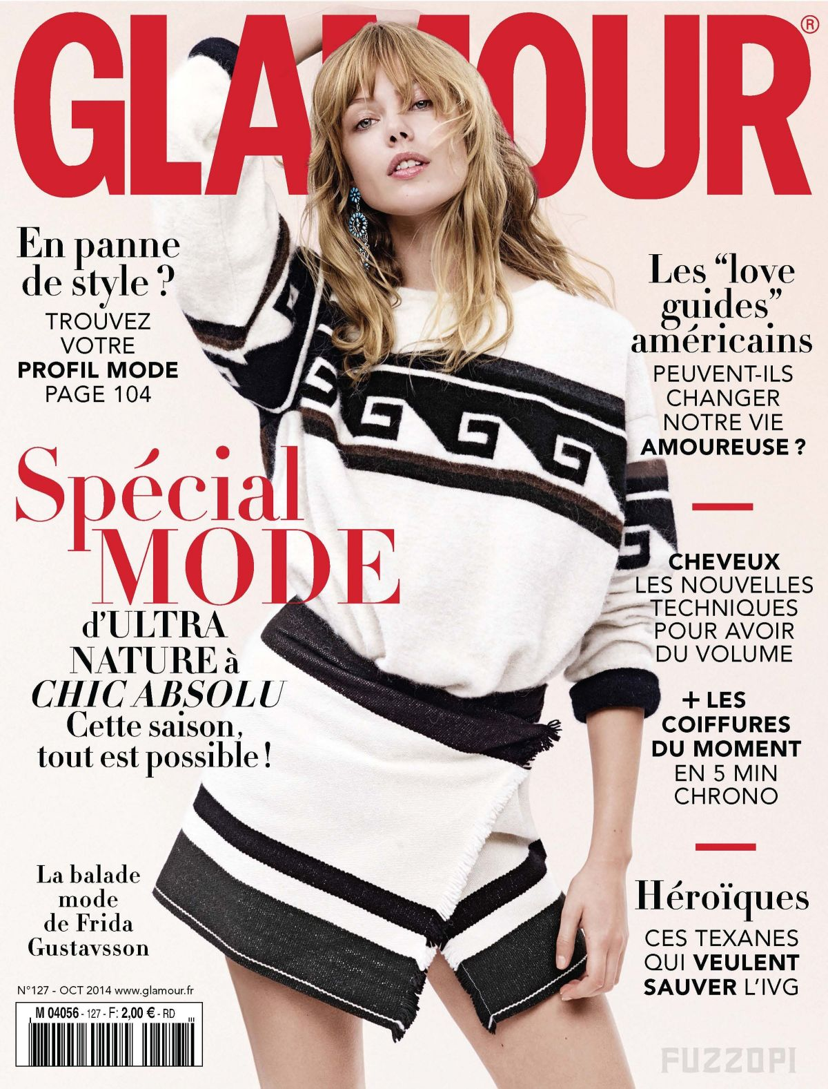 FRIDA GUSTAVSSON on the Cover of Glamour Magazine, October 2014 Issue