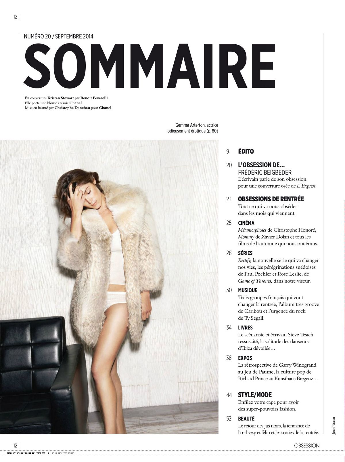 GEMMA ARERTON in Obsession Magazine, September 2014 Issue