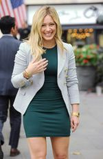 HILARY DUFF in Short Dress on he Set of Younger in New York