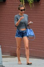 IRINA SHAYK in Denim Shorts Out and About in West Village