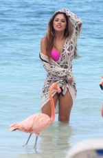JASMINE VILLEGAS in Binikini on the Music Video Set at a Beach in Aruba