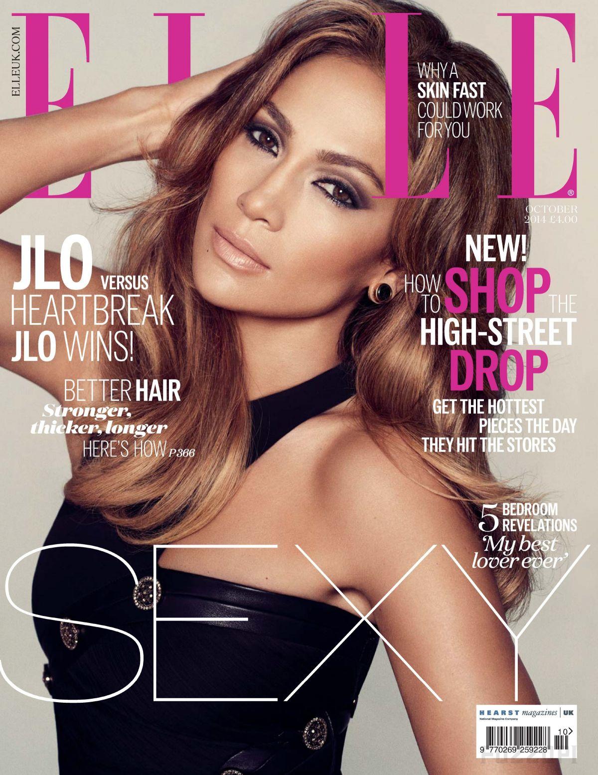 JENNIFER LOPEZ on the Cover of Elle Magazine, October 2014 Issue