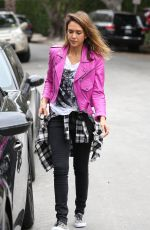 JESSICA ALBA in Pink Leather Jacket Out in Beverly Hills