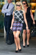 JESSICA SIMPSON in Plaid Dress Out in New York