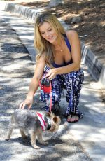 JOANNA KRUPA in Tank Top Walks Her Dog Out in Miami