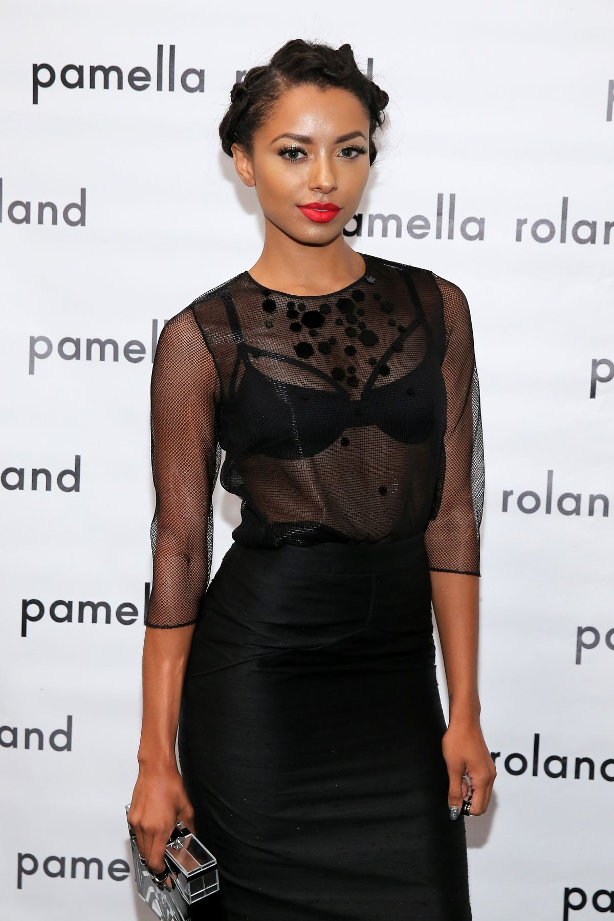 KAT GRAHAM at Pamella Roland Fashion Show in New York