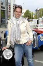 KATARINA WITT at Finish of Hamburg-Berlin Classic Rally