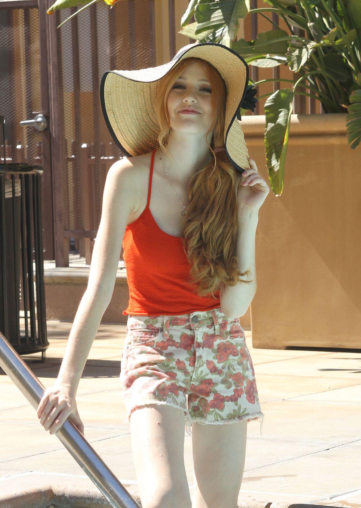 Katherine Mcnamara At Photoshoot By A Pool In Los Angeles
