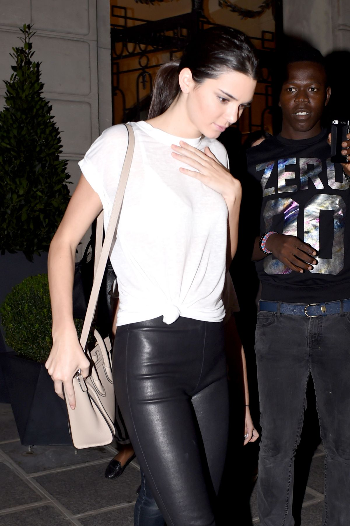 Kendall Jenner In Leather Trousers Out In Paris Hawtcelebs