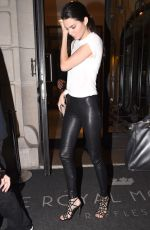 KENDALL JENNER in Leather Trousers Out in Paris