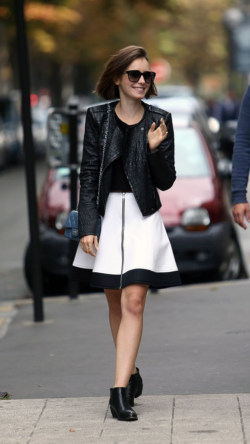LILY COLLINS Out and About in Paris 2109