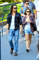 LILY COLLINS with New Boyfriend in Disneyland in Los Angeles
