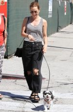 MENA SUVARI Walks Her Dog Out in Los Angeles