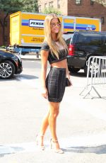 NINA AGDAL Arrives at a Fashion Show in New York