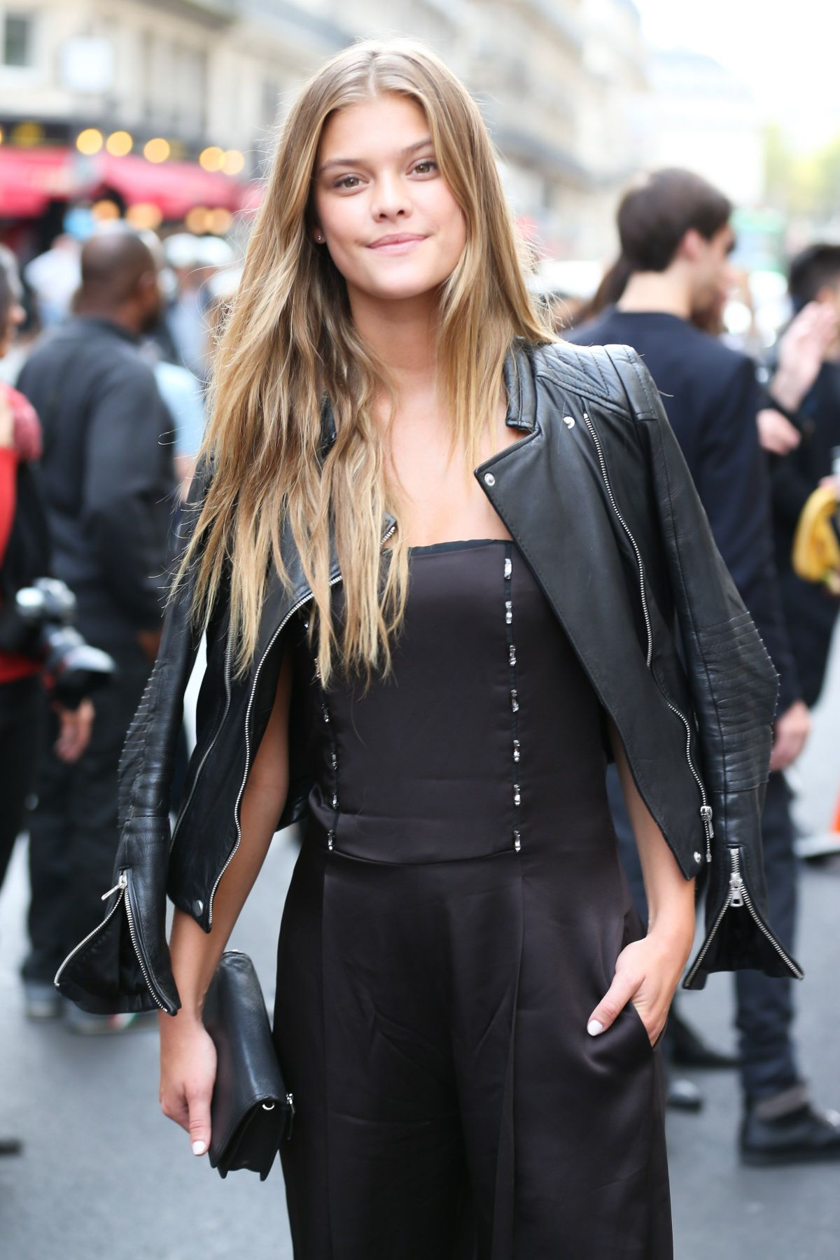 NINA AGDAL Arrives at Givenchy Fashion Show in Paris