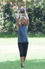 OLIVIA HOLT Plays Football at a Park in Sherman Oaks