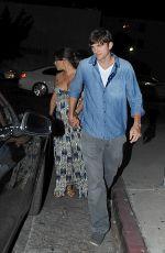 Pregnant MILA KUNIS and Ashton Kutcher Leaves Restaurant in Melrose