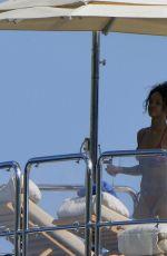 RIHANNA in Bikini at a Boat in Ponza