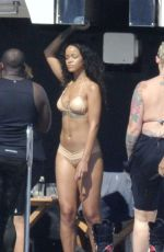 RIHANNA in Bikini at a Yacht in Italy
