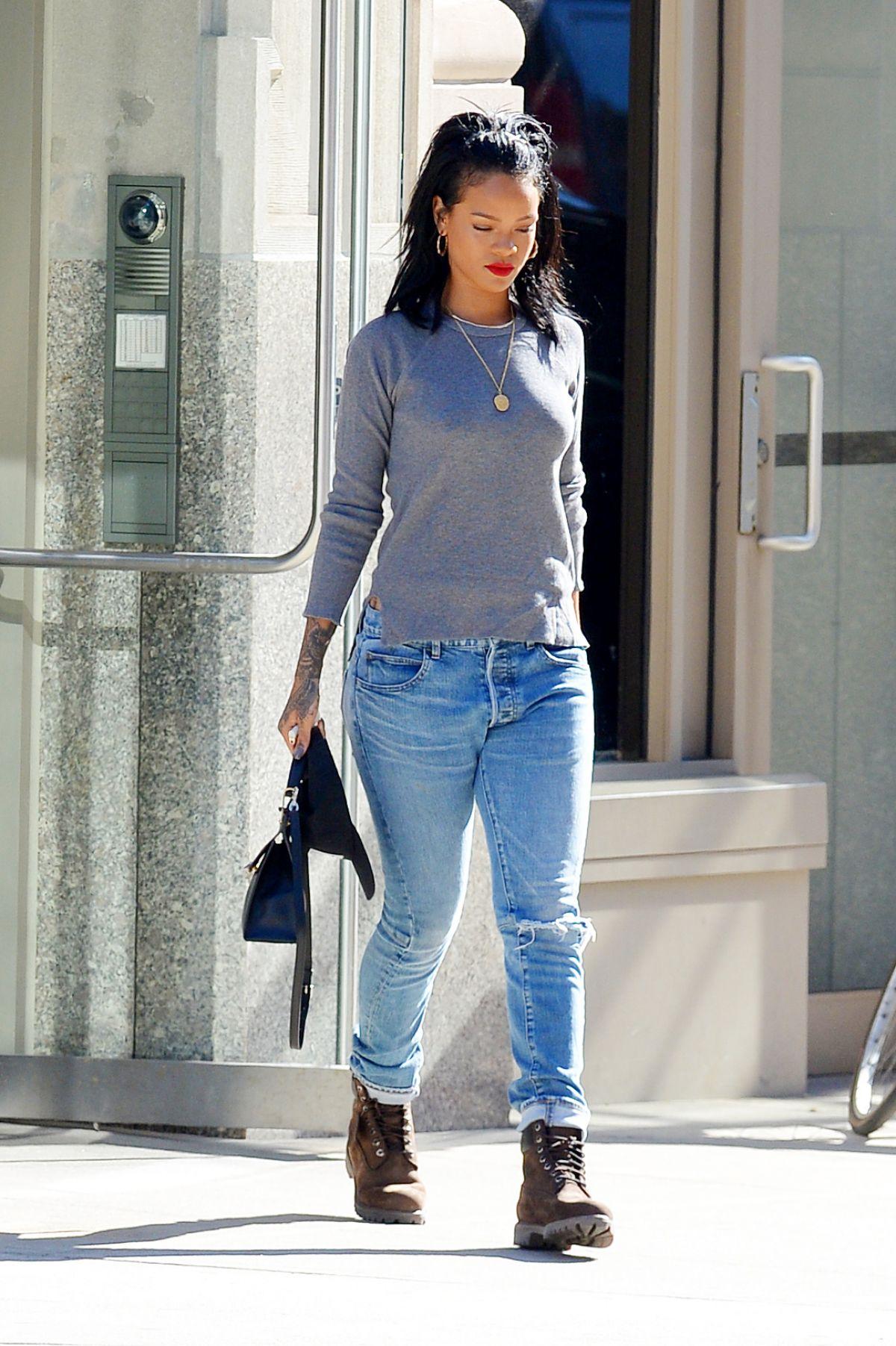 Rihanna In Jeans Out In Soho Hawtcelebs