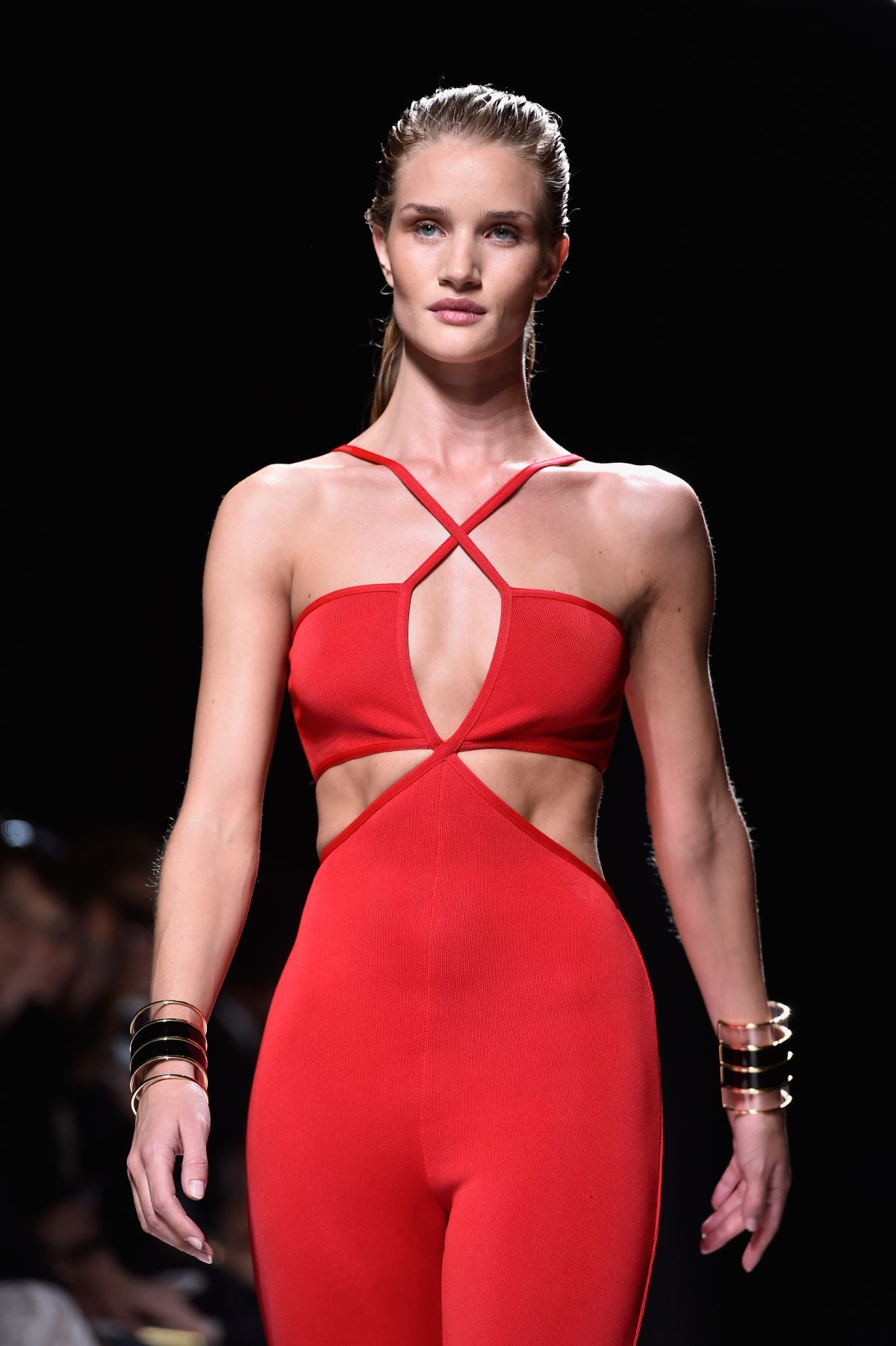ROSIE HUNTINGTON-WHITELEY on the Runway of Balmain Fashion Show in Paris