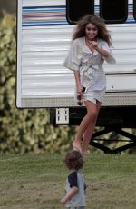 SARAH HYLAND on the Set of Modern Family in Los Angeles