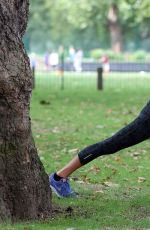 SOPHIE ANDERTON Workout at Battersea Park in London