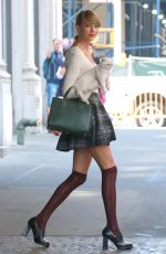 TAYLOR SWIFT in Stockings Out and About in New York