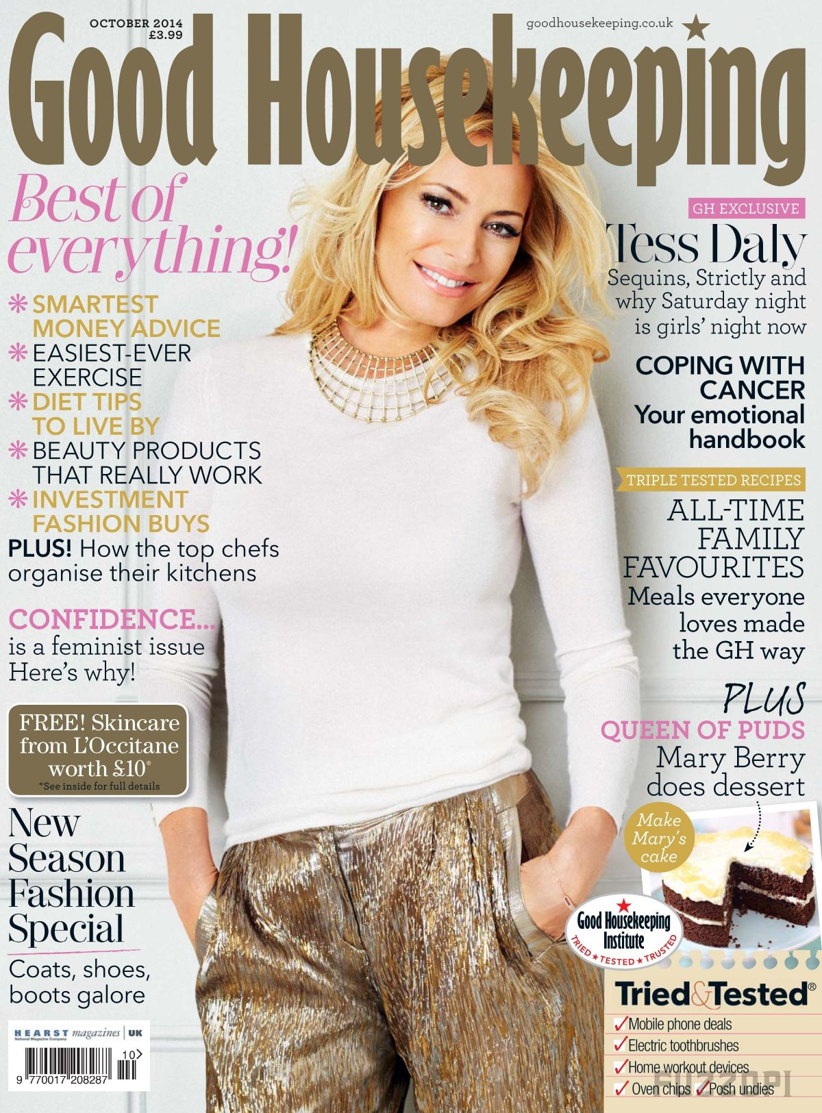 TESS DALY on the Cover of Good Housekeeping Magazine, October 2014 Issue