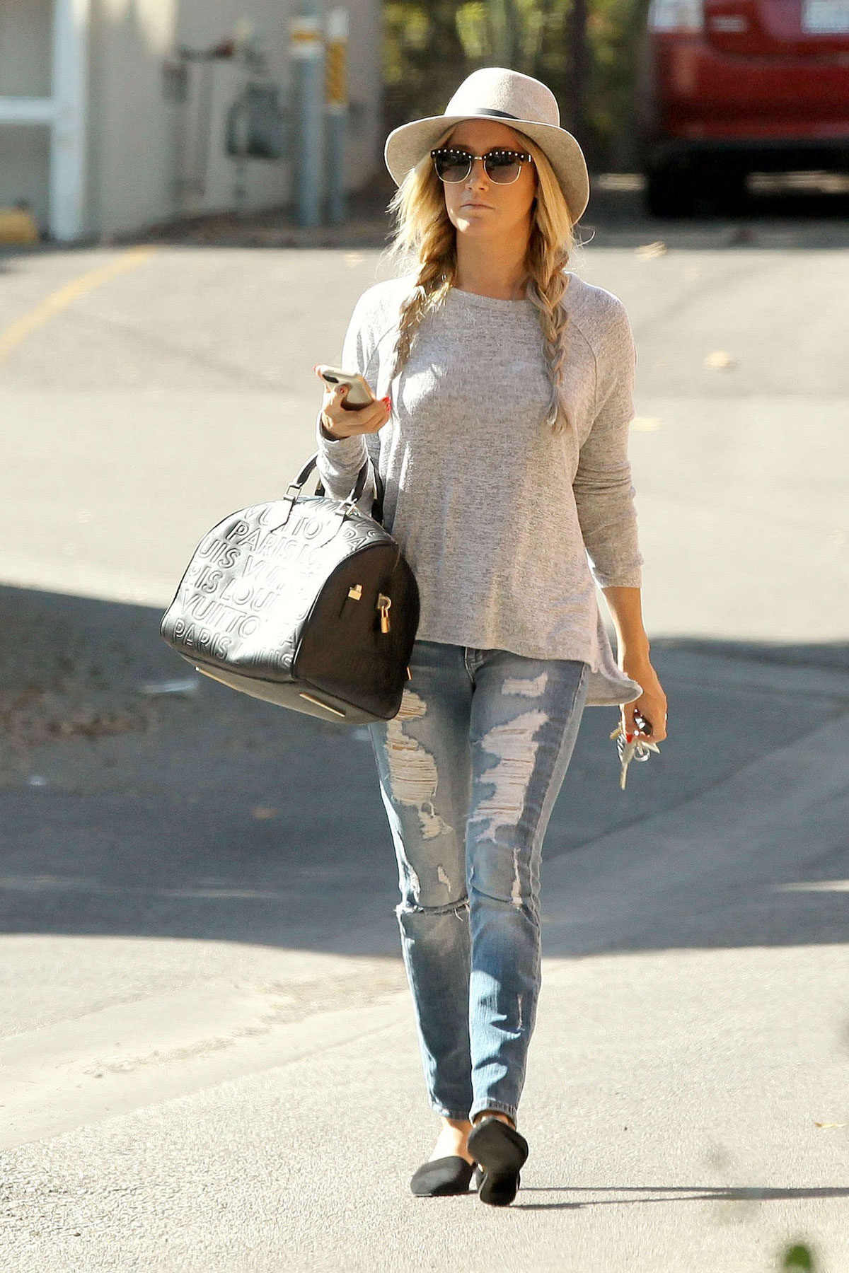 Ashley Tisdale In Ripped Jeans Out And About In Studio
