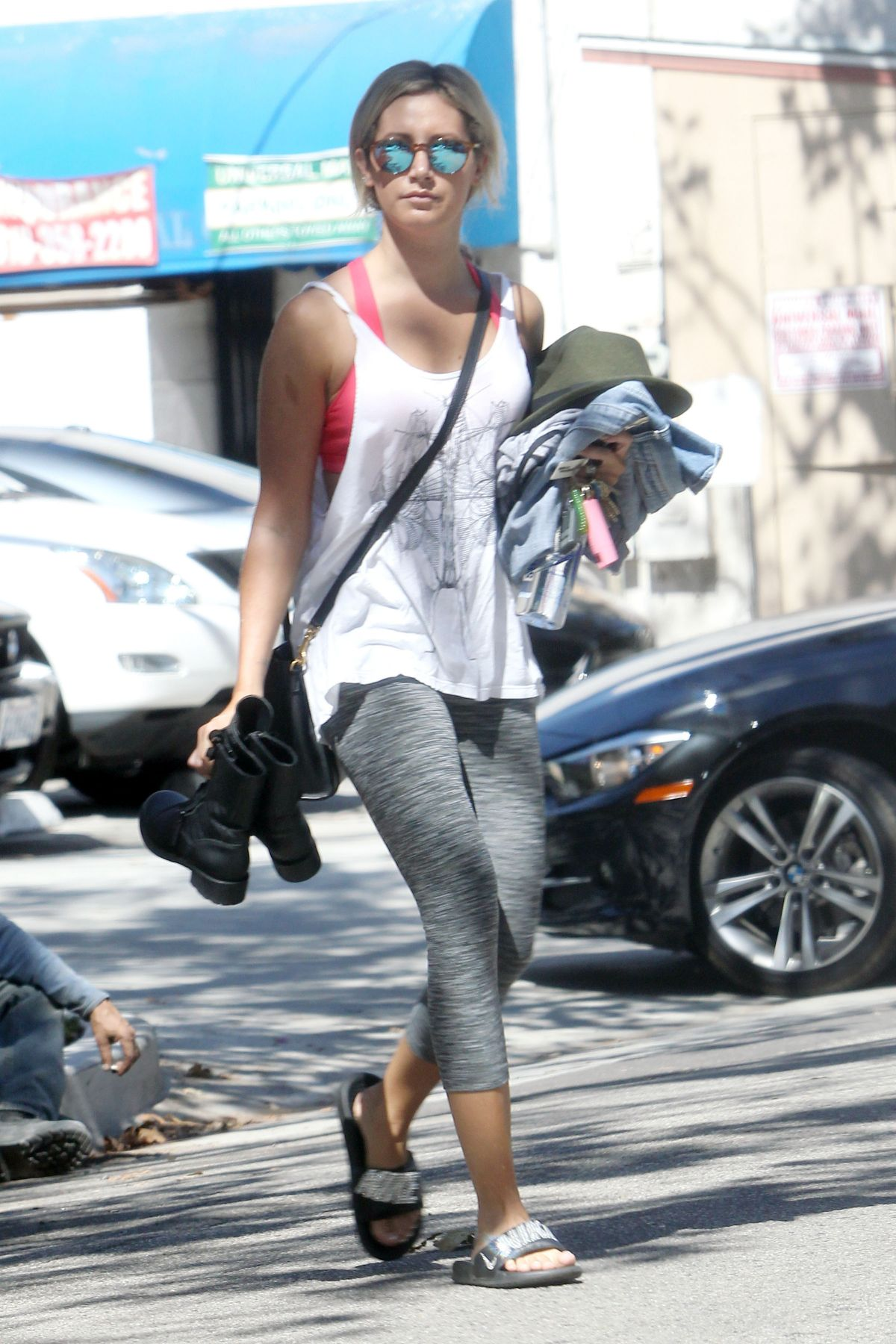 Ashley Tisdale In Tights Leaves Pilates Class In Los Angeles