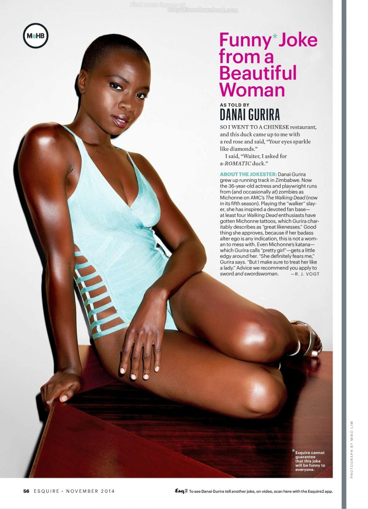 DANAI GURIRA in Esquire Magazine, November 2014 Issue
