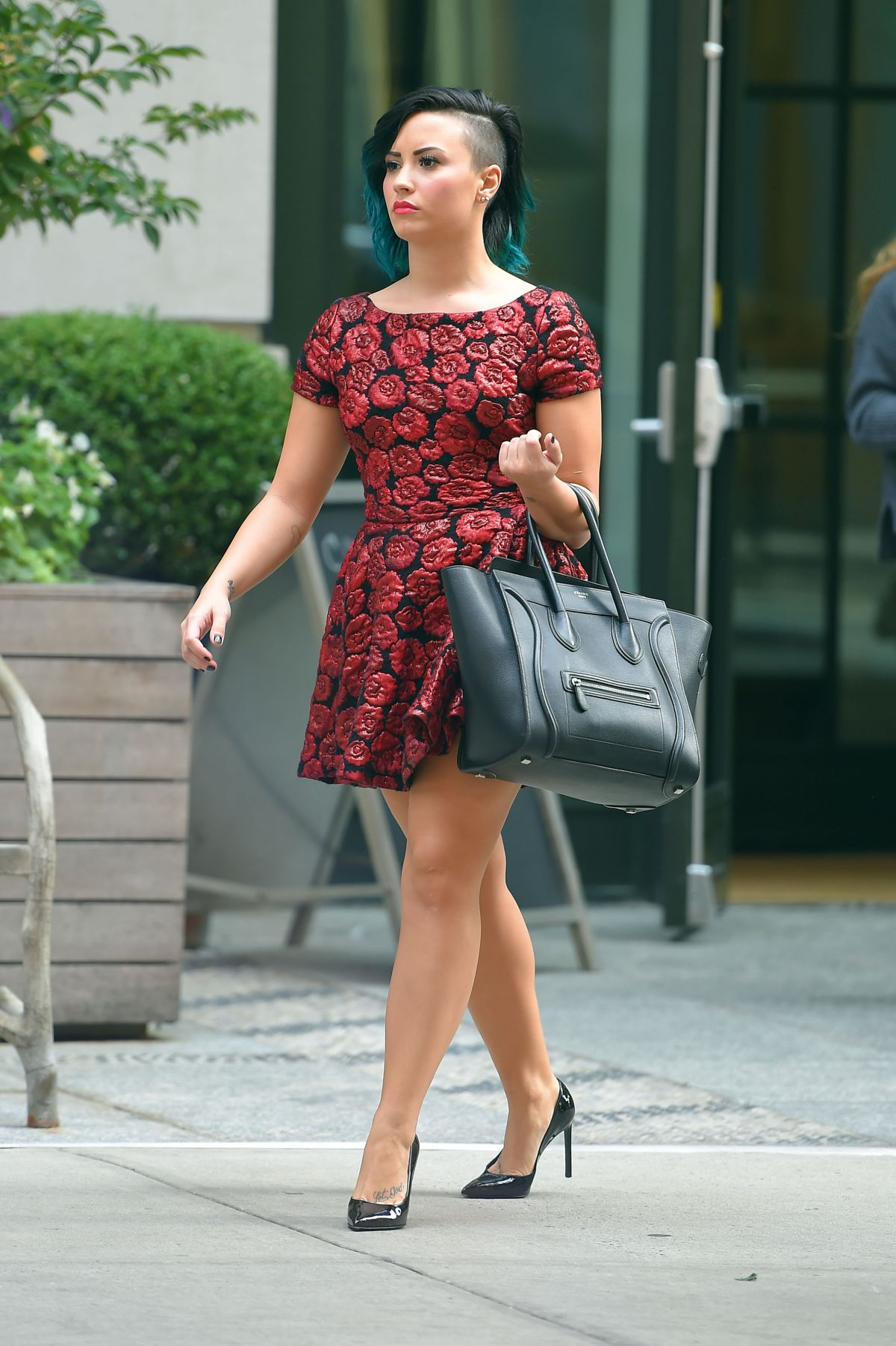 DEMI LOVATO in Short Dress Out in Soho