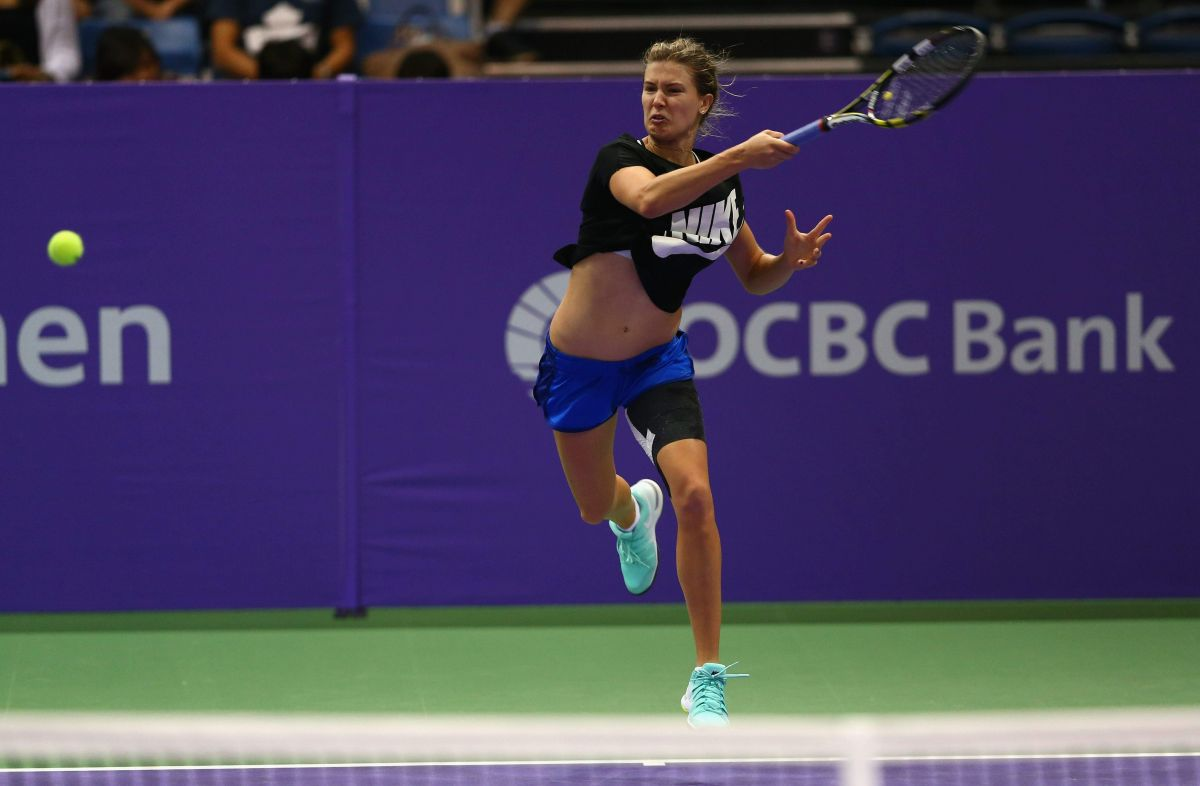 EUGENIE BOUCHAR at Practice Session at BNP Paribas WTA Finals in Singapore