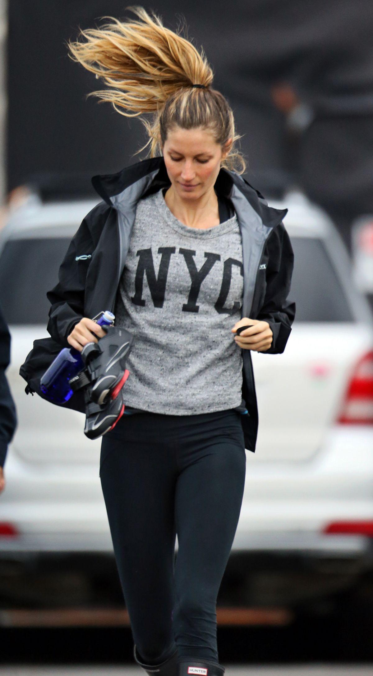 GISELE BUNDCHEN Leaves a Gym in Boston