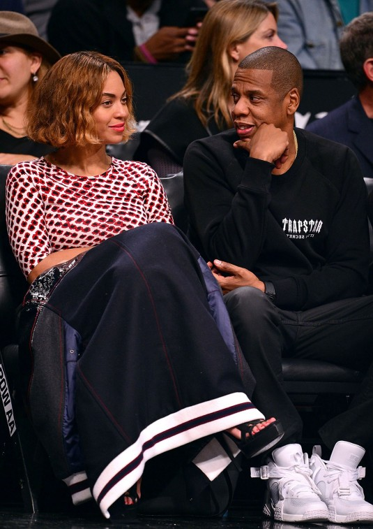 BEYONCE and Jay-Z at Brooklyn Nets Game