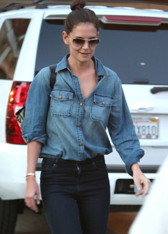 KATIE HOLMES in Jeans Out in Los Angeles