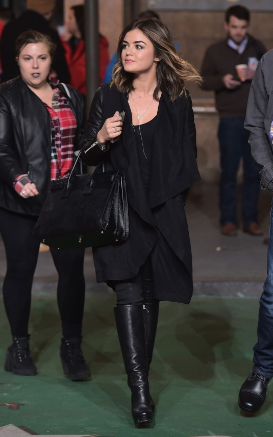 LUCY HALE at 2014 Macy's Thanksgiving Day Parade Rehearsals
