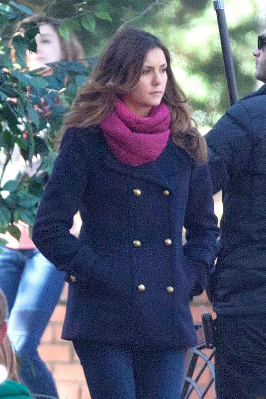 NINA DOBREV on The Vampire Diaries Set