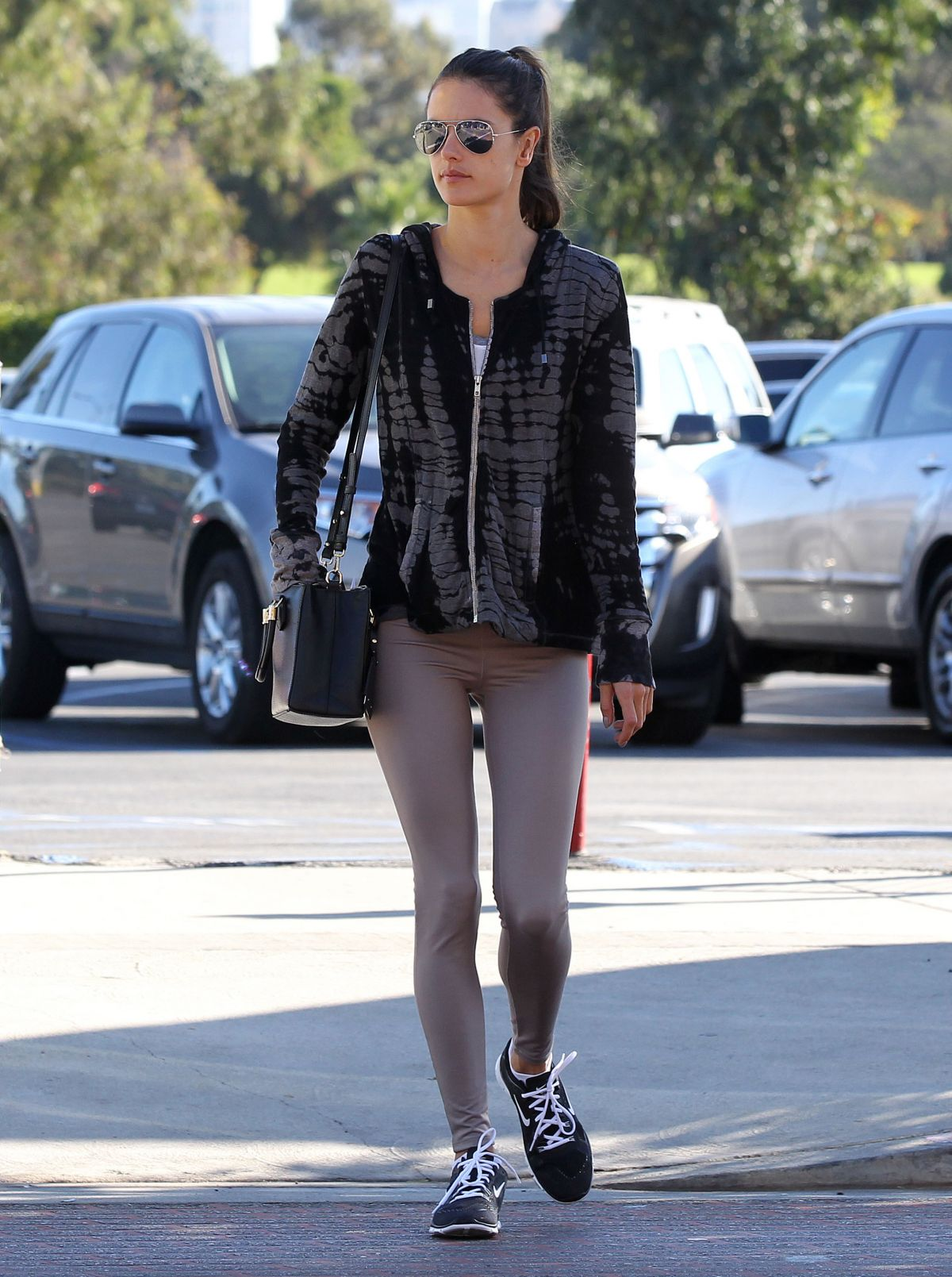 Alessandra Ambrosio In Tights Out And About In Los Angeles