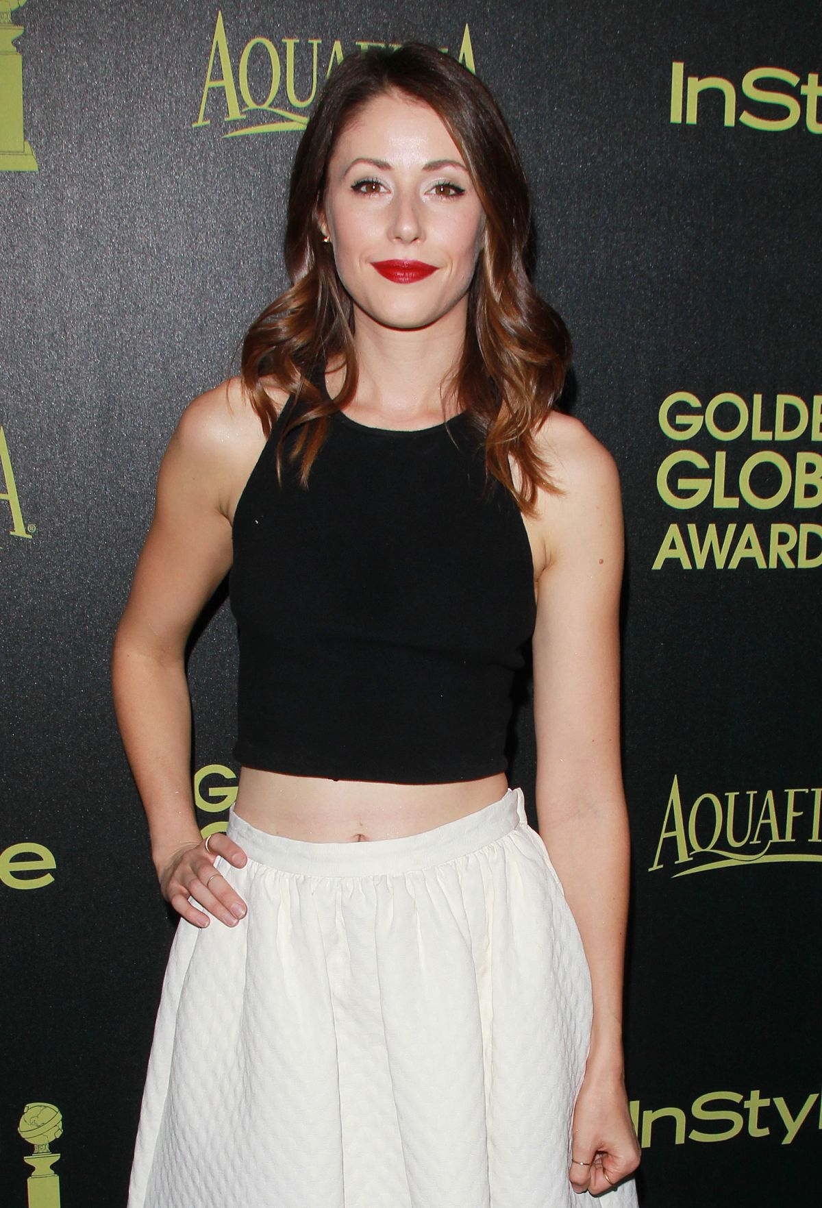 AMANDA CREW at Hfpa abd Instyle Celebrate 2015 Golden Globe Award Season in Hollywood