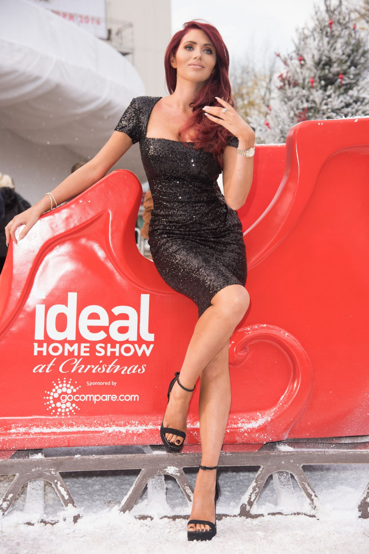AMY CHILDS at The Ideal Home Show at Christmas Opening in London