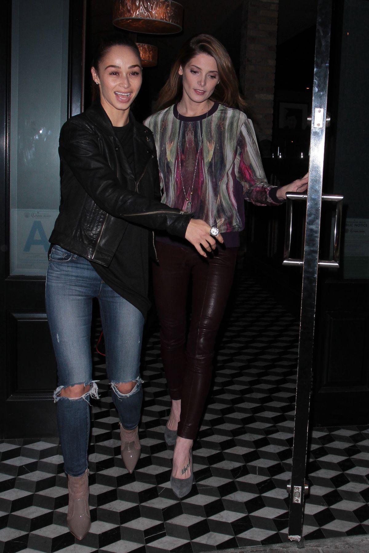 ASHLEY GREENE and CARA SANTANA Out for Dinner at Craig