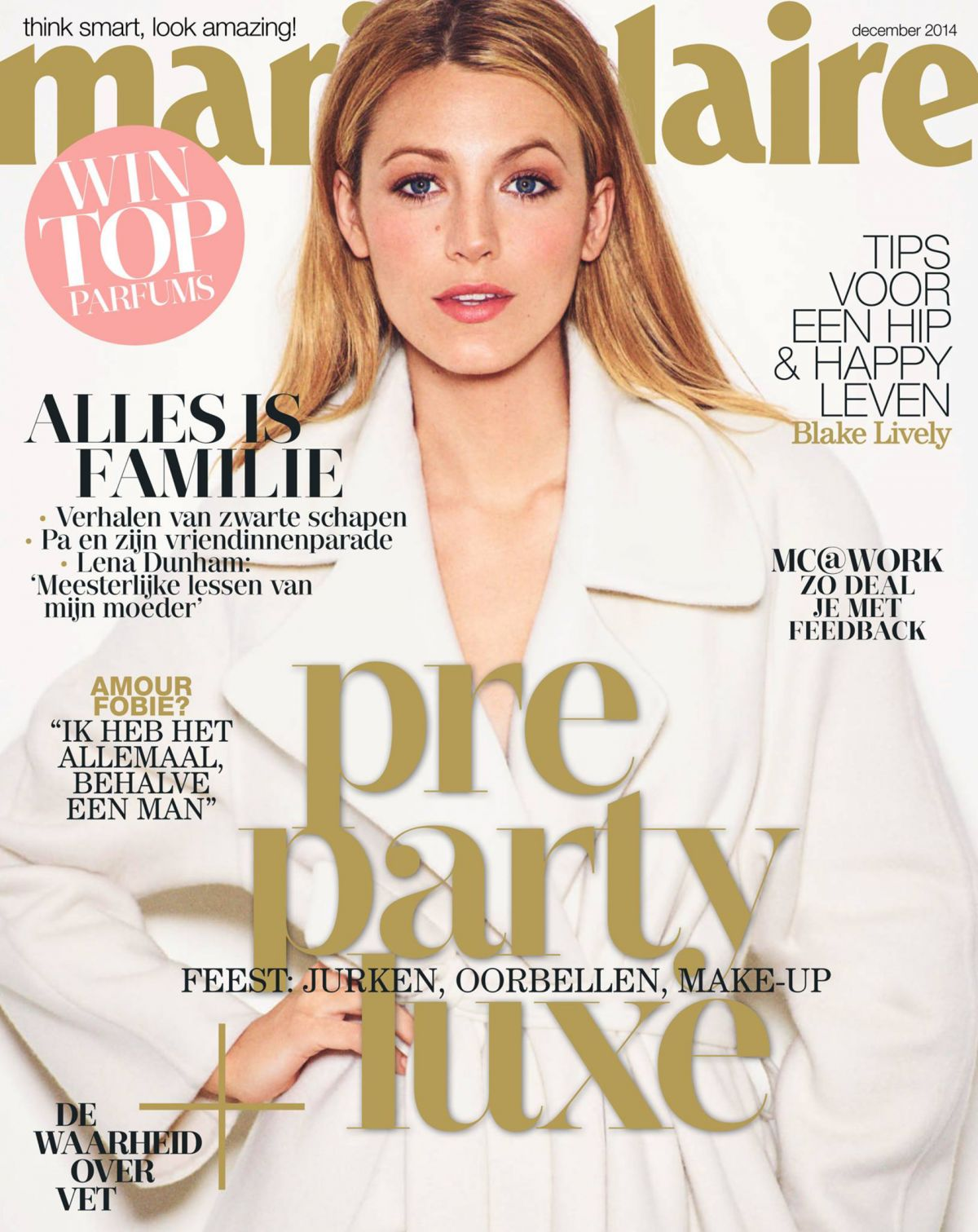 BLAKE LIVELY on the Cover of Marie Claire Magazine, Netherlands December 2014 Issue