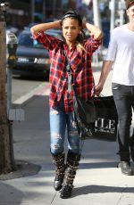 CHRISTINA MILIAN in Ripped Jeans Out and About in Beverly Hills 1911